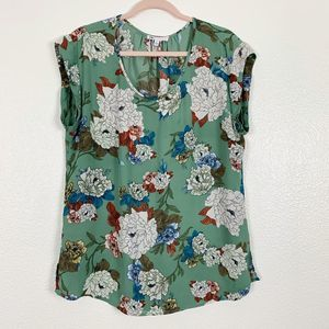 DR2 Green Floral Cap Sleeve Scoop Neck Blouse L